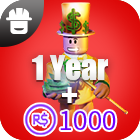 Outrageous Builders Club  1Year + 1000 Robux